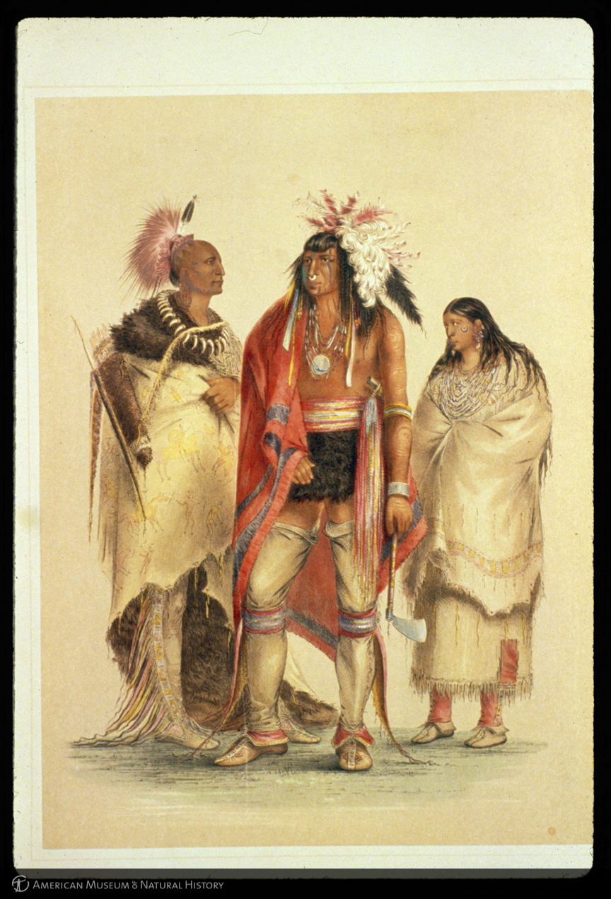 Three Native Americans painted from life, by George Catlin: An Osage